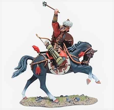 Mongol Warrior on Black Horse Swinging Club