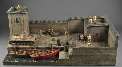 Harbor with tower and house - Diorama