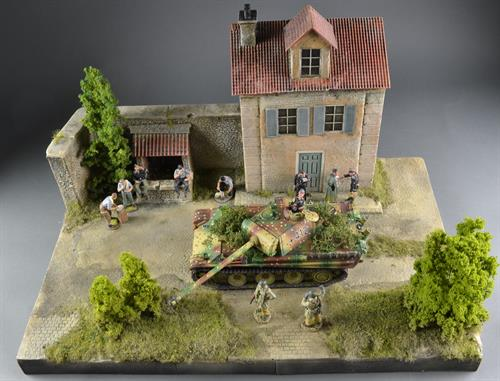 French house with well - Diorama
