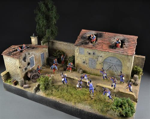 French farmhouse with barn - diorama
